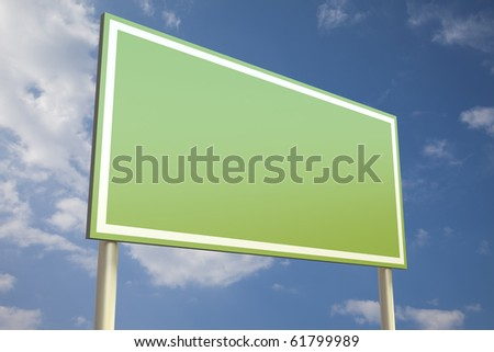 Green sign in front of a blue sky (insert your own text) - stock photo