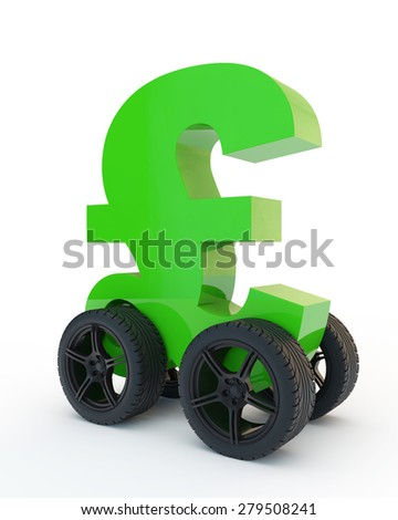 green sign pound sterling on wheels - stock photo