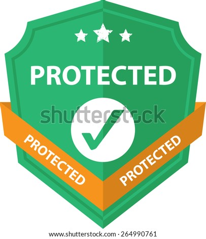 Green Sign, Symbol And Icon Of A Metallic Shield With Sign - Protected Shield. Isolated On White Background.