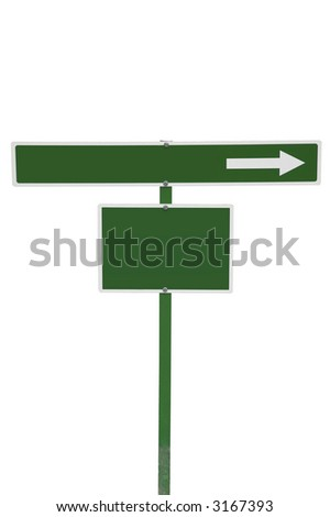 Green sign with space for text, isolated on white.