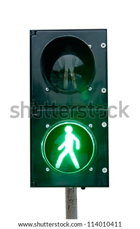 green signal of a traffic light in isolation - stock photo