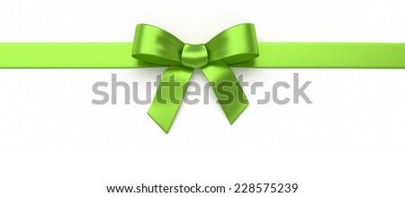 Green silk bow - stock photo
