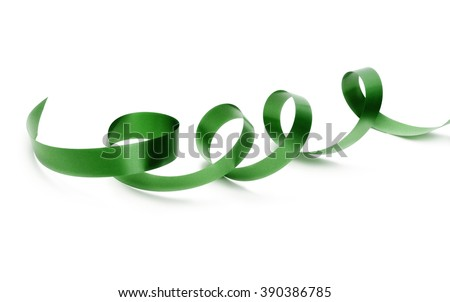 green silk ribbon on white - stock photo