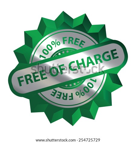 Green Silver Metallic Free of Charge 100% Free Icon, Label, Sign or Sticker Isolated on White Background  - stock photo