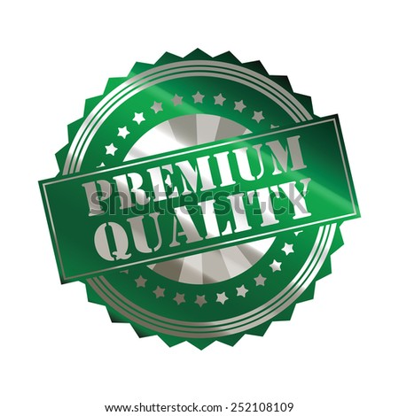 green silver metallic premium quality sticker, badge, icon, stamp, label isolated on white - stock photo