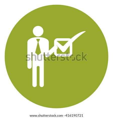 Green Simple Circle Businessman Hold Check Mark Infographics Flat Icon, Sign Isolated on White Background  - stock photo