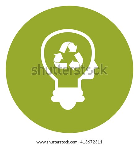 Green Simple Circle Lamp Head With Recycle Arrow Infographics Flat Icon, Sign Isolated on White Background