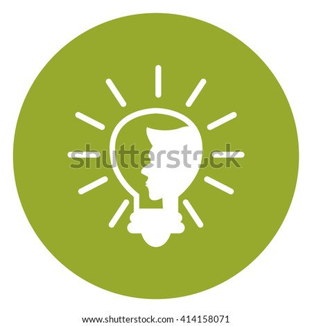Green Simple Circle Light Bulb With Head Infographics Flat Icon, Sign Isolated on White Background - stock photo
