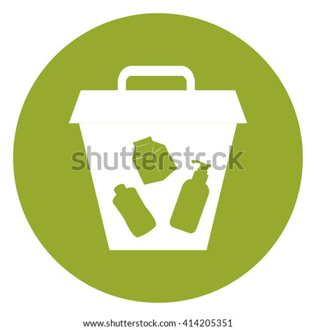 Green Simple Circle Litter Bin Infographics Flat Icon, Sign Isolated on White Background - stock photo