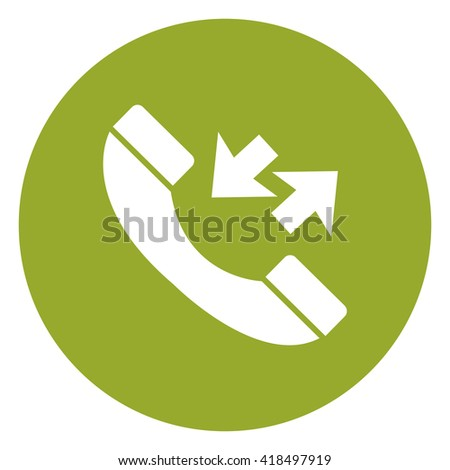 Green Simple Circle Telephone With Call Back Sign Infographics Flat Icon, Sign Isolated on White Background  - stock photo