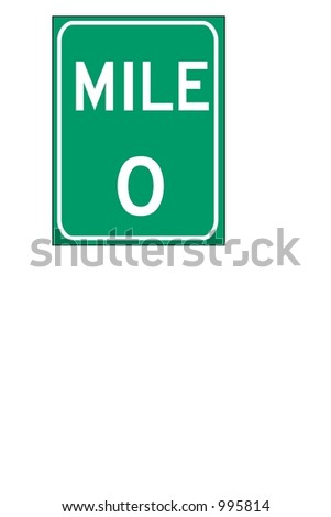 Green Single digit mileage sign isolated on a white background - stock photo