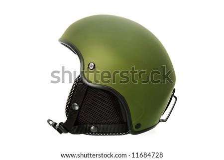 Green Ski Helmet - stock photo