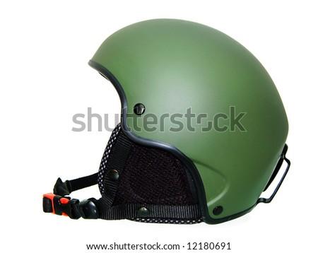 Green Ski Helmet isolated on white. - stock photo