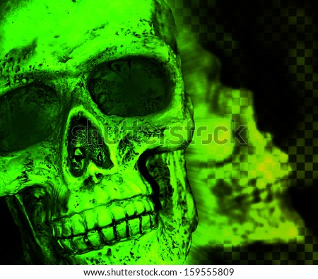 Green Skull Scary Background - stock photo