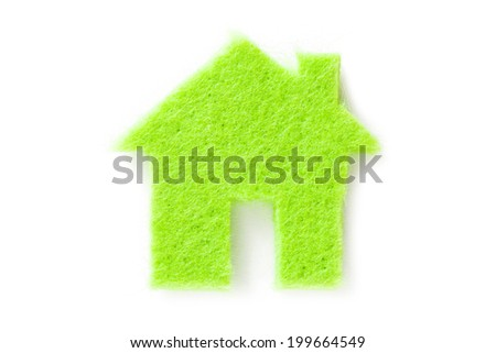 Green small house on white background