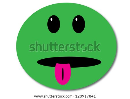 Green Smiley Face with Tongue Sticking Out - stock photo