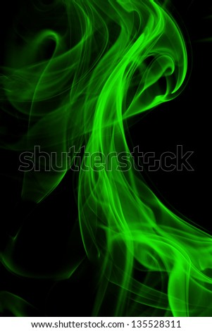 Green smoke in black background - stock photo