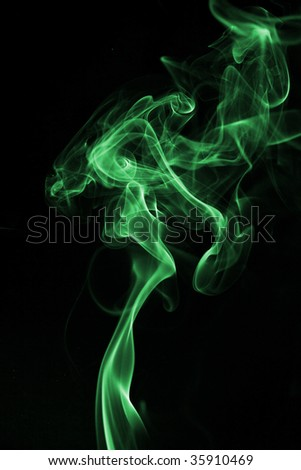 Green smoke isolated on black background