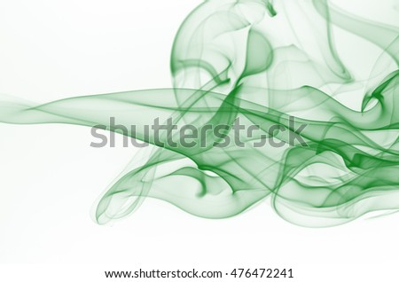Green smoke on white background, movement of green smoke