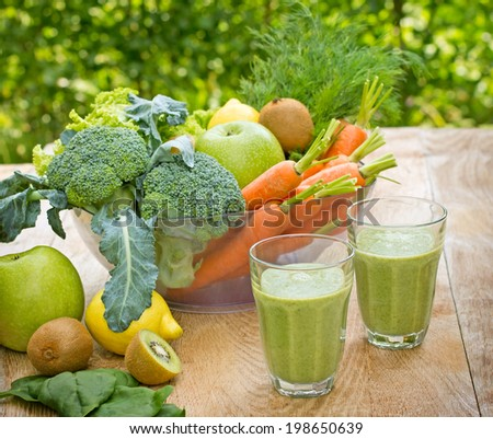 Green smoothie (green juice) - stock photo