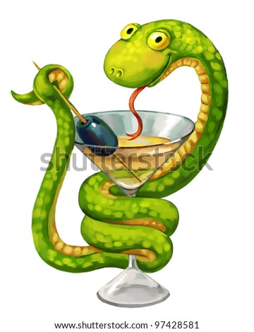 Green snake. Martini glass with olive. Snake on cup (medicine symbol). Freehand drawing