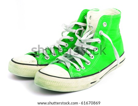 green sneakers - stock photo