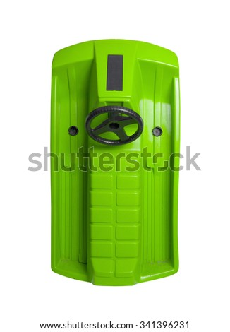 Green snow-scooter isolated on a white background - stock photo