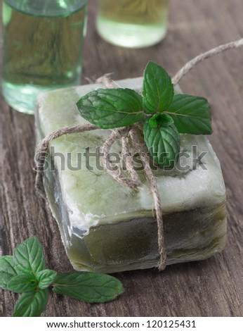 green soap - stock photo