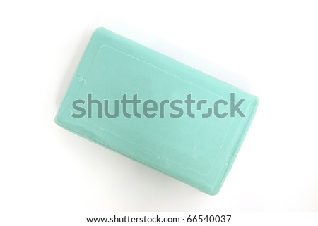 green soap with white background