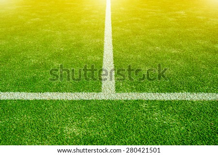 green soccer field. - stock photo