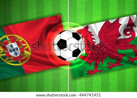 green Soccer / Football field with stripes and flags of portugal - wales, and ball.
