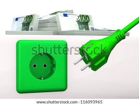 Green socket with green plug and euro banknotes. White background. - stock photo