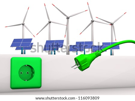 Green socket with green plug, solar panels and wind towers. White background. - stock photo