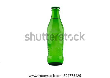 green soda bottle Isolated on white background. - stock photo