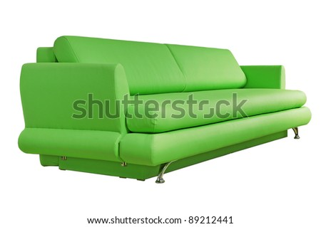 Green sofa isolated on white background - stock photo