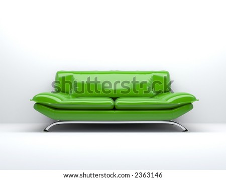 green sofa isolated on white background 3d - stock photo