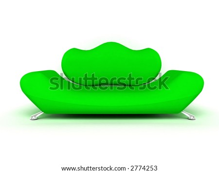 Green sofa isolated on white background 3d rendered - stock photo