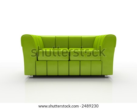 Green sofa on white background  insulated 3d - stock photo