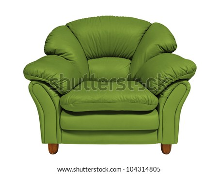 Green sofa on white background with clipping path - stock photo