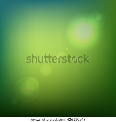 Green Soft Colored Abstract Background with Lens Flare Light. illustration - stock photo