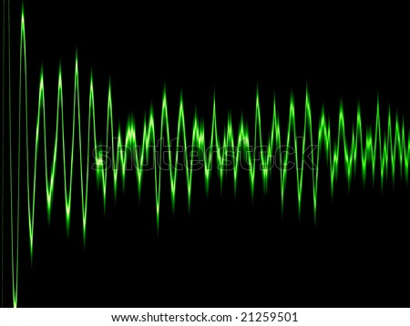 green sound wave or brainwave