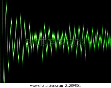 green sound wave or brainwave - stock photo