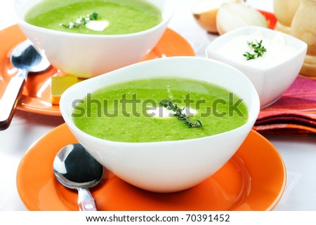 green soup of broccoli - stock photo
