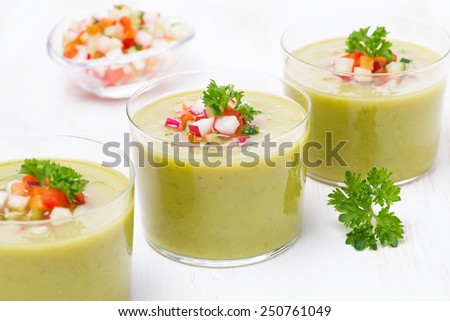 green soup with fresh vegetables and parsley, horizontal, close-up - stock photo