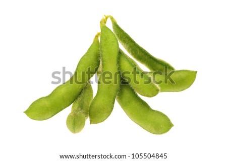 green soy bean on white background - stock photo