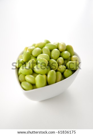 Green Soy Beans in White Bowl - stock photo