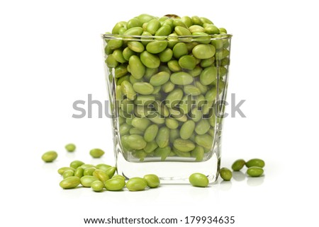 Green soy beans on white background  - stock photo