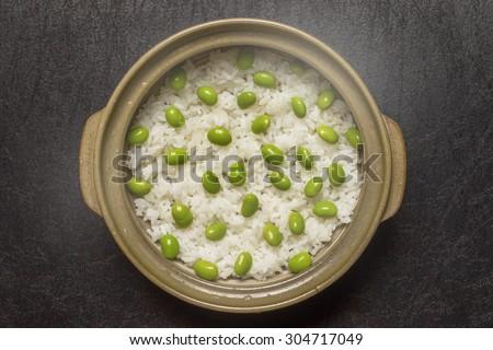 Green soybeans rice Japanese food(EDAMAME) - stock photo