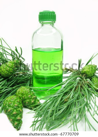 green spa aroma oil with fir natural coniferous extract - stock photo