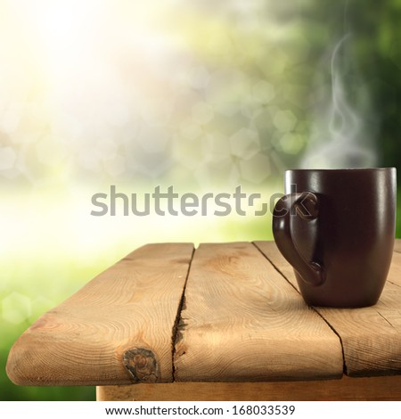 green space and mug  - stock photo